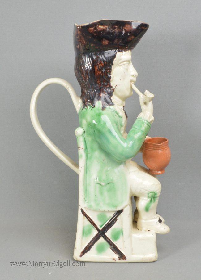 Antique creamware pottery Toby jug