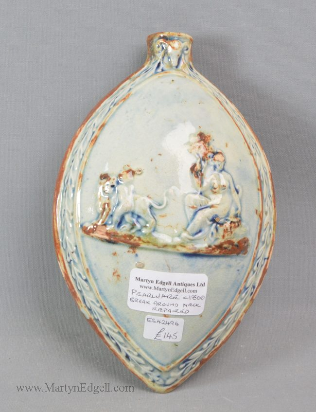 Antique pearlware pottery flask