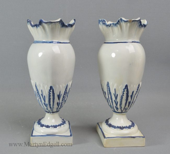 Antique pearlware shell edge vases