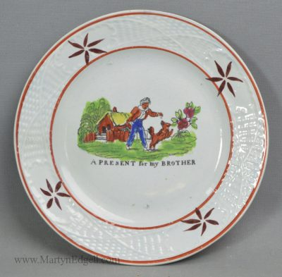 Antique pearlware pottery child's plate