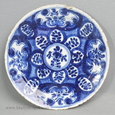 Antique pottery English delft plate