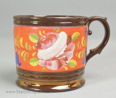 Antique copper lustre mug