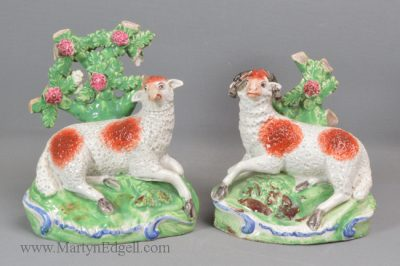 Antique Staffordshire pottery sheep