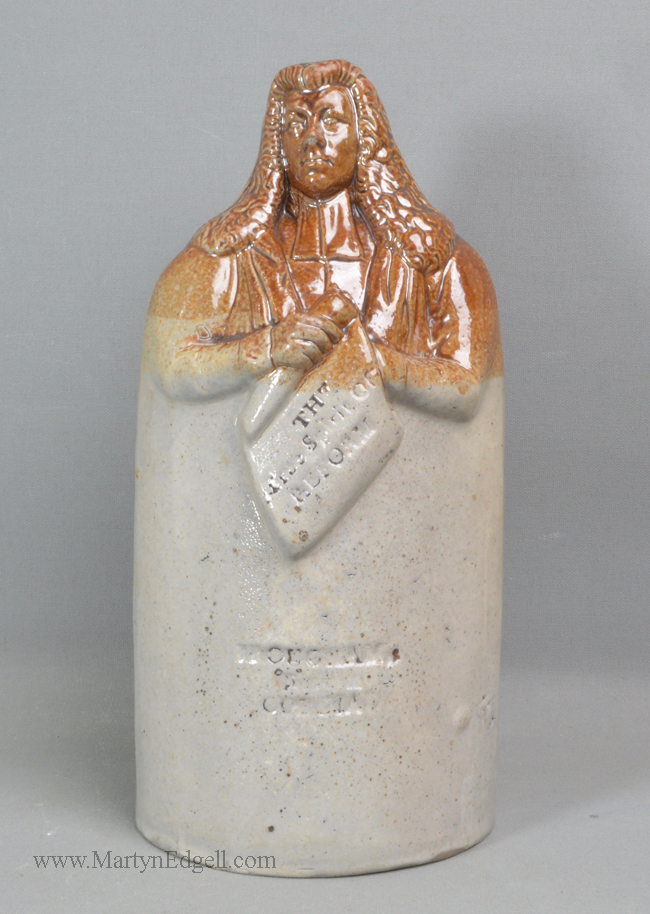 Antique saltglaze stoneware Reform flask