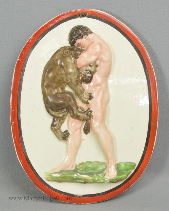 Antique creamware pottery plaque