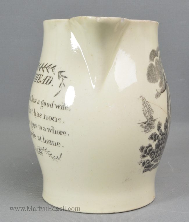 Antique creamware pottery jug