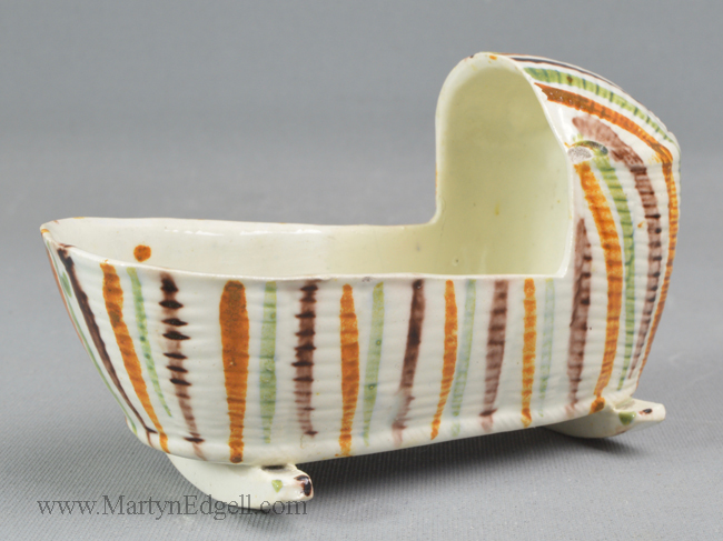 Antique prattware pottery toy cradle