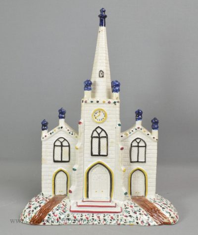 Antique pearlware pottery church