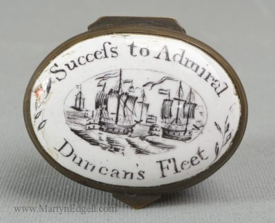 Antique enamel patch box