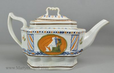 Antique prattware pottery teapot