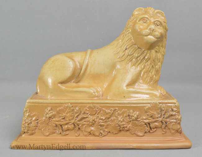 Antique saltglaze stoneware lion