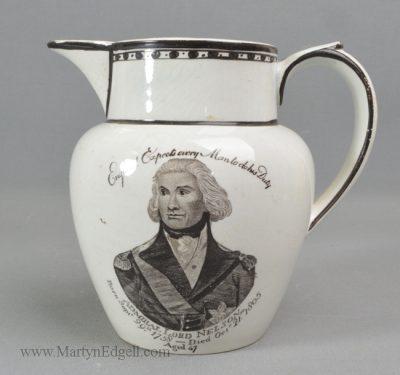 Antique pottery commemorative jug