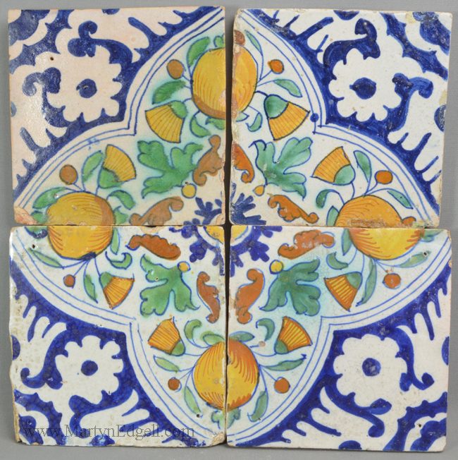 Antique pottery Dutch Deft tiles