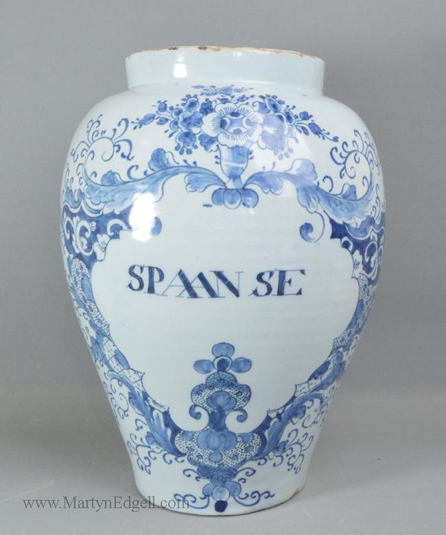 Antique Dutch Delft tobacco jar