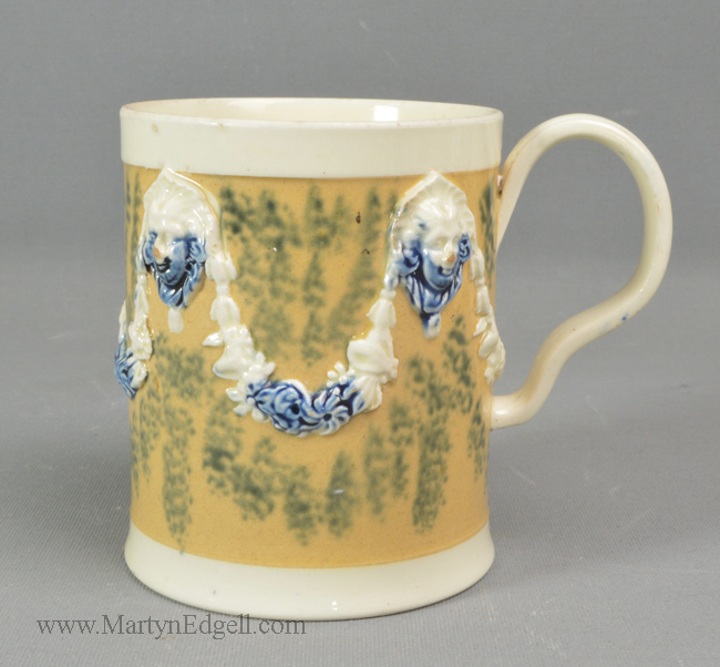 Antique creamware pottery mug