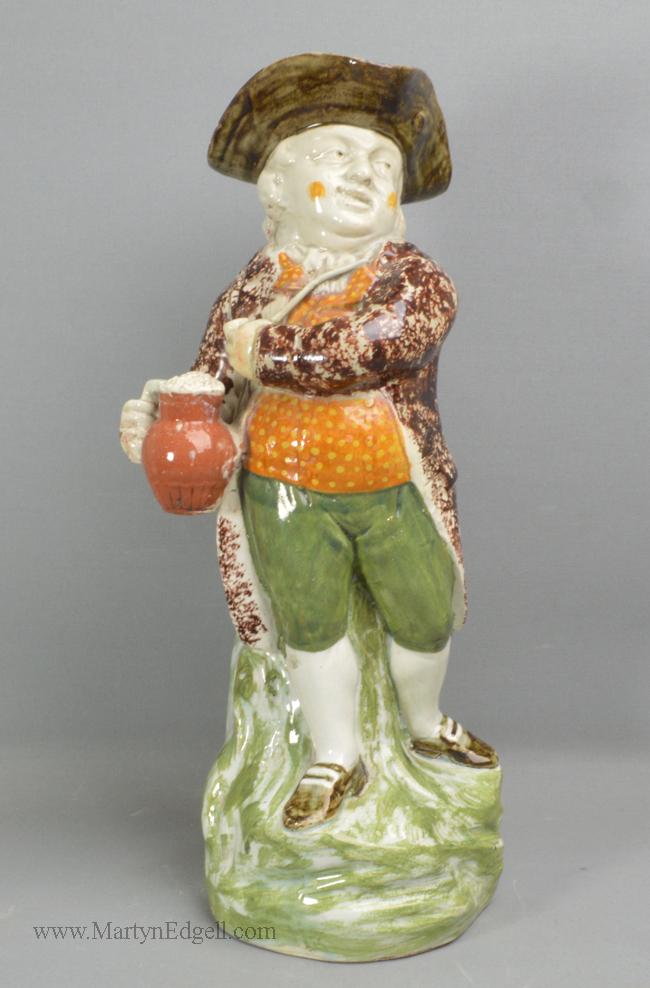 Antique prattware pottery Toby jug