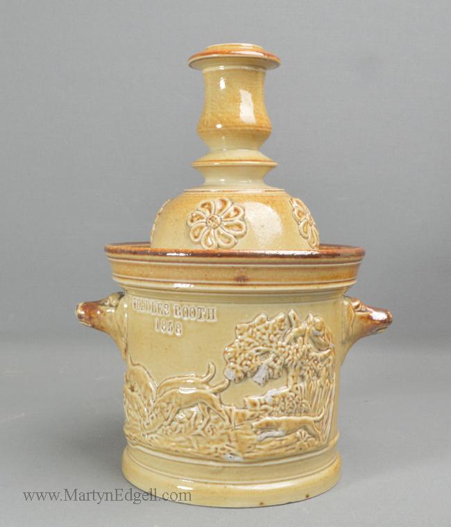 Antique stoneware tobacco box