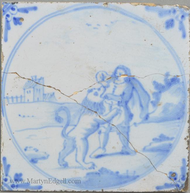 Antique London delft biblical tile