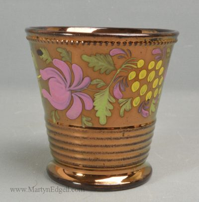 Antique copper lustre beaker