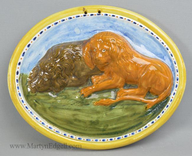 Antique prattware pottery plaque