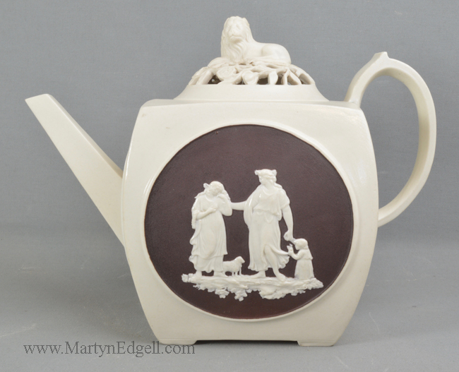 Antique stoneware teapot