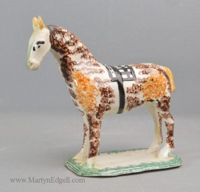 Antique pearlware horse