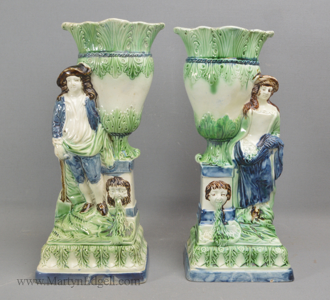 Antique pearlware spill vases