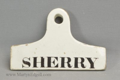 Antique pottery bin label