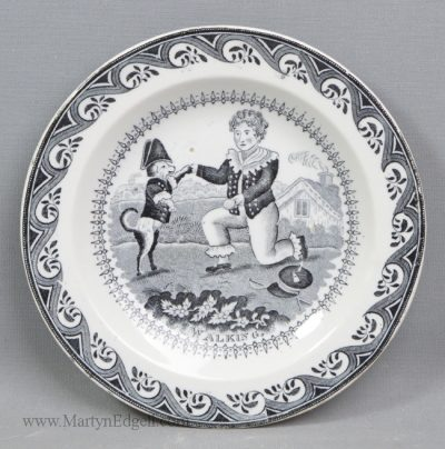 Antique pottery children's plate