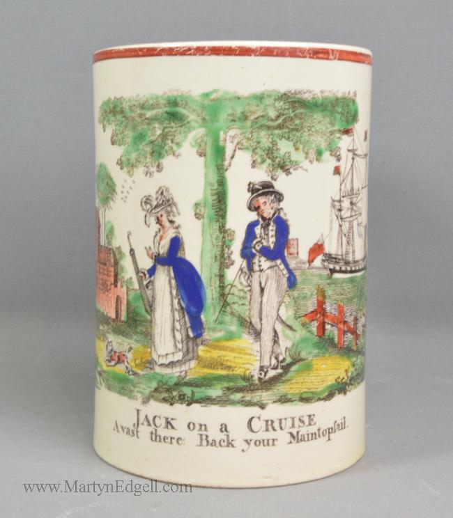 Antique creamware frog mug