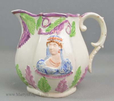 Antique pearlware commemorative jug
