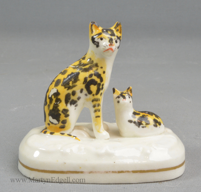 Staffordshire Porcelain Cat Group
