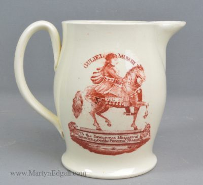 Antique creamware commemorative jug