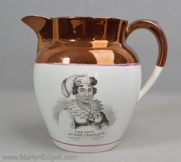 Antique commemorative pottery jug
