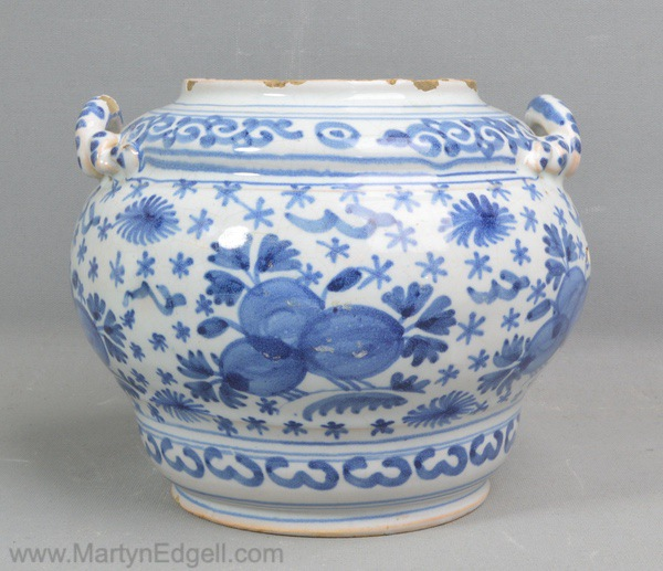 Antique Bristol delft jar