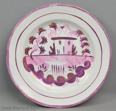 Antique lustre pottery plate