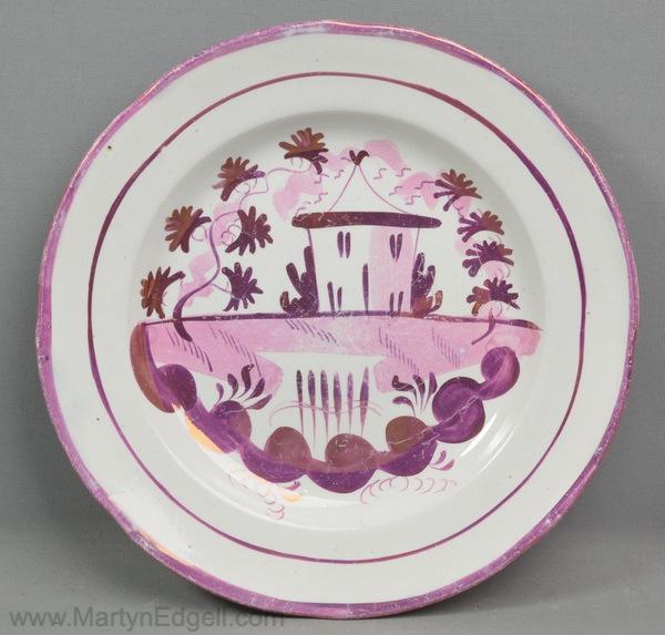 Antique lustre pottery plate