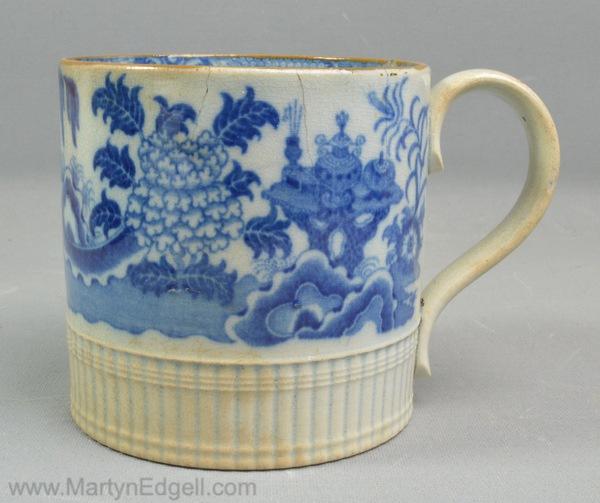 Antique pearlware pottery mug