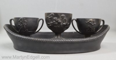 Antique Wedgwood basalt inkwell