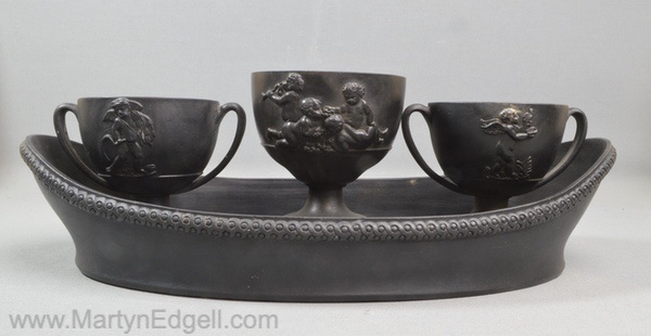 Antique Wedgwood basalt inkwell