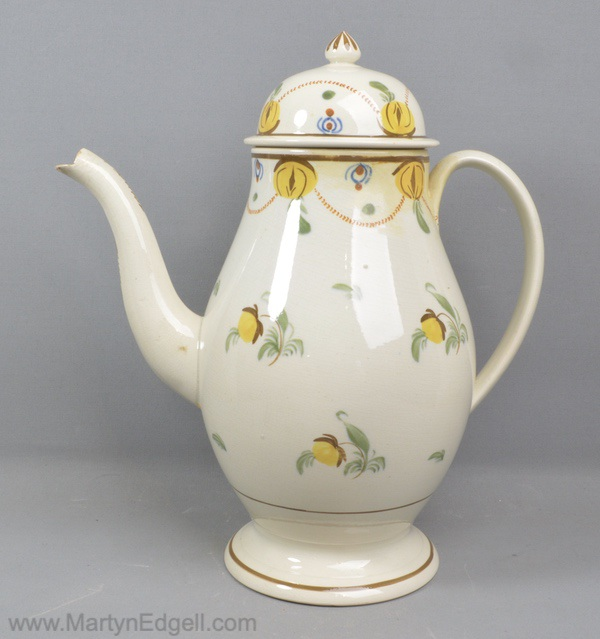 Antique Prattware coffee pot