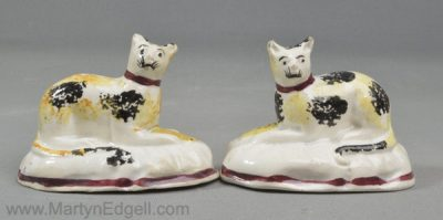 Antique pearlware pottery cats
