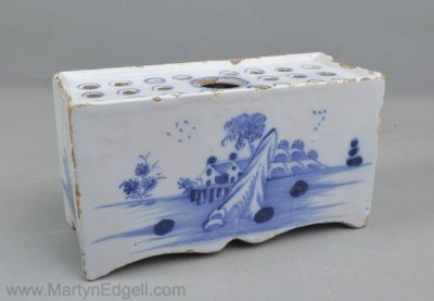 Antique English delft flower brick