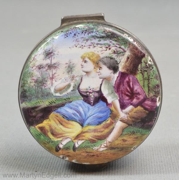 Antique Vienna enamel box