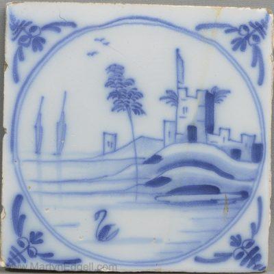 Antique Liverpool delft tile