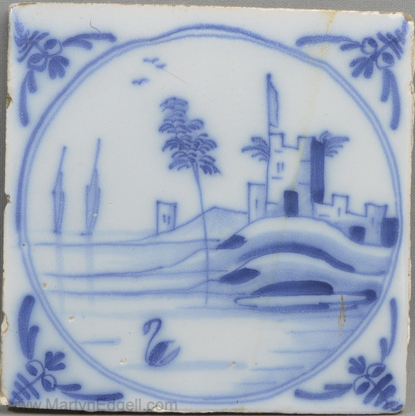 Antique Liverpool delft tile