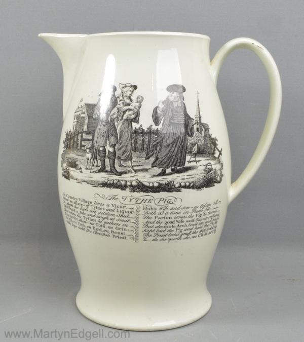 Antique creamware pottery jug