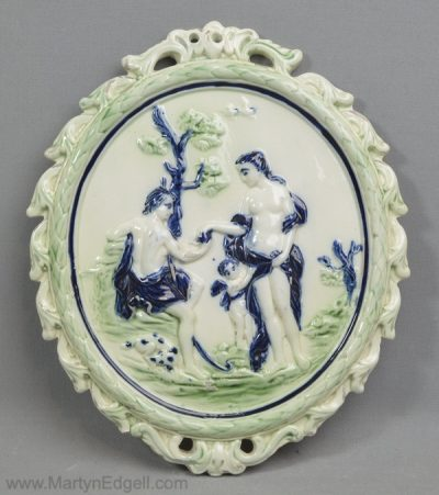 Antique pearlware pottery plaque