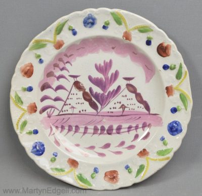 Antique lustre pottery child's plate