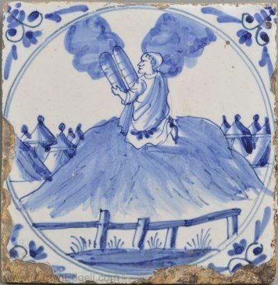 Antique English delft tile